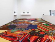 Cayetano Ferrer, Remnant Recomposition, 2014. Casino carpet fragments and seam tape. Installation view, Swiss Institute, 2014. Image courtesy of Swiss Institute.