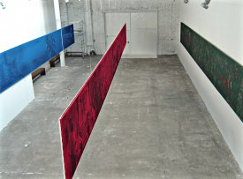 """Yury Ermolenko, """"IMMIGRATION TO CUBA"""" project, (fragment), 2012, acrylic on cotton fabric, 4meta-paintings: """"The White"""", """"The Red"""", """"The Green"""", """"The Blue"""", 145x1600 cm. (long each)"""