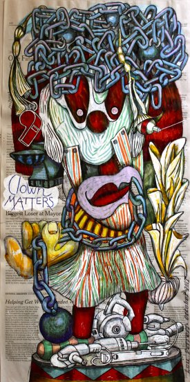 Clown Matters. Mixed media drawing tools. From the series, The Internal Affairs of Mr. Invincible.