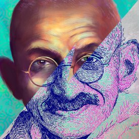 Portrait of Gandhi - Digital Painting by Ladislas Chachignot - 2015