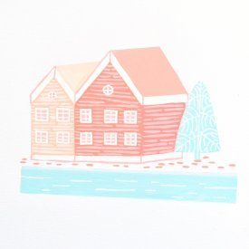 painted illustration of a coral nordic house