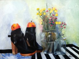 """Apples and shoes I"" 2015 Oil on canvas, 18 x 24 in."