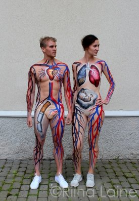 Body painting artist Riina Laine   Non-smoking campaign for Pfizer
