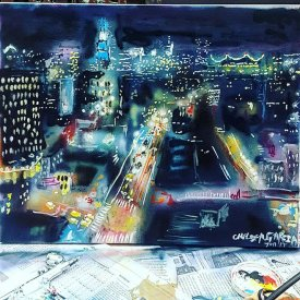 Aerial of Delancy st., Spray paint on canvas