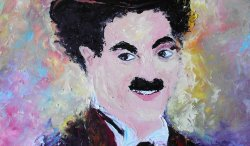 ''Chaplin'',oils on canvas ,60/50 sm FOR SALE