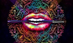 Detail Design lips painting by Ladislas Chachignot. Digital painting for Make Up For Ever  - 2015