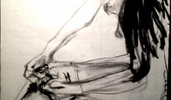 Charcoal sketch of a woman tying on silk stockings. 2013