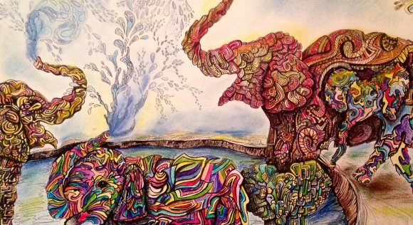 Design of elephants made with pen, colored pencil, and pastels