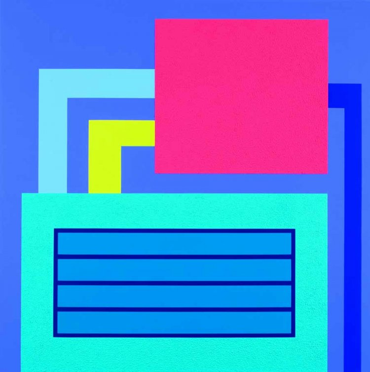 Peter Halley, Bluff, 2007. Acrylic, fluorescent acrylic, and Roll-a-Tex on canvas. Collection of Nicholas Hunt.