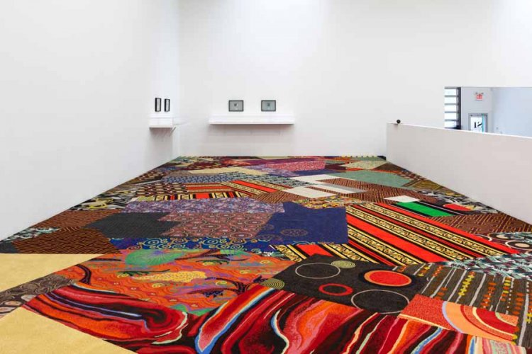Cayetano Ferrer, Remnant Recomposition, 2014. Casino carpet fragments and seam tape. Installation view, Swiss Institute, 2014