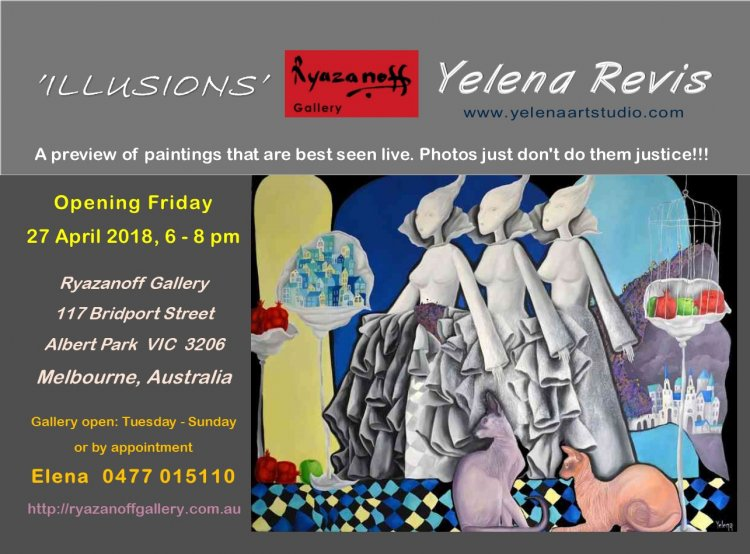 art exhibition surreal original paintings Sydney Bondi artist Yelena Revis in Melbourne