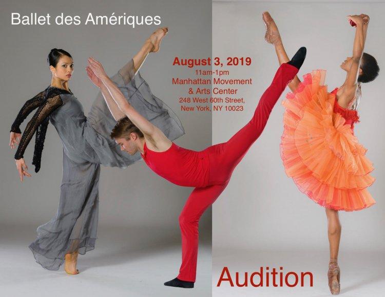 Ballet des Amériques Company Audition casting job at Ballet