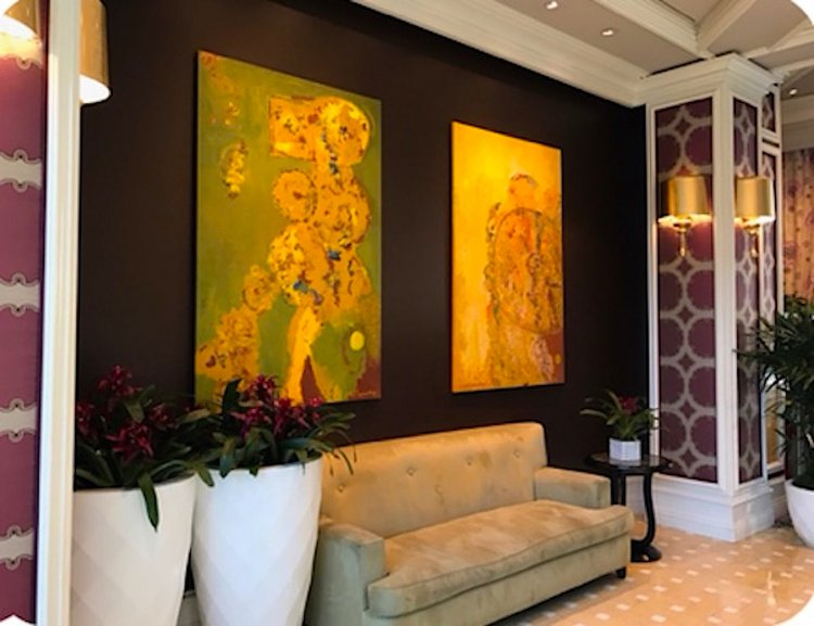 Site-specific public art commission by MGM Resorts International in 2004. Custom created paintings measuring 6 feet X 4 feet featured as permanent installation in the Bellagio Hotel, Las Vegas USA.