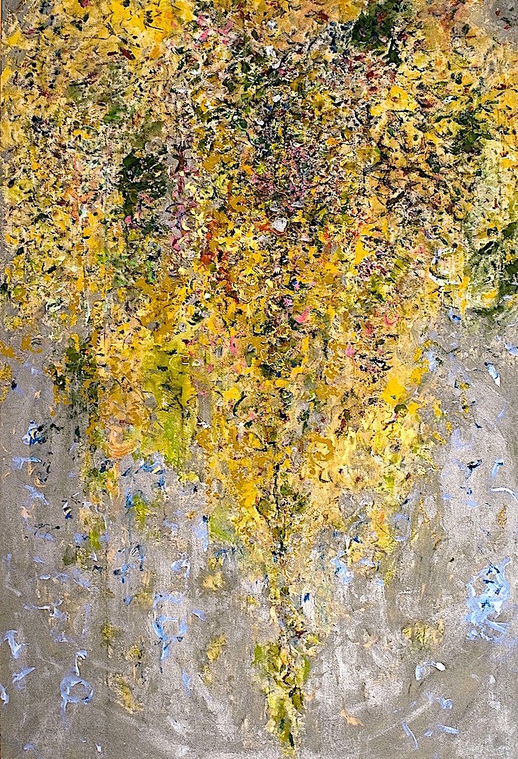 """Lyrical Profusion"" Size: 67 "" (H) X 48"".(W). Acrylics on canvas.     ""Lyrical Profusion"" is an abstract interpretation of Claude Monet's garden in Giverny France, inspired by the fleeting moments of nature in all its glory! The work grasps the fleeting moment as in the impressionist Movement. It is intuitively created with rapid brushstrokes, and subtle intricately interwoven textural materials that make the work glow under all light situations.     This luminous painting is created on museum-depth canvas,"