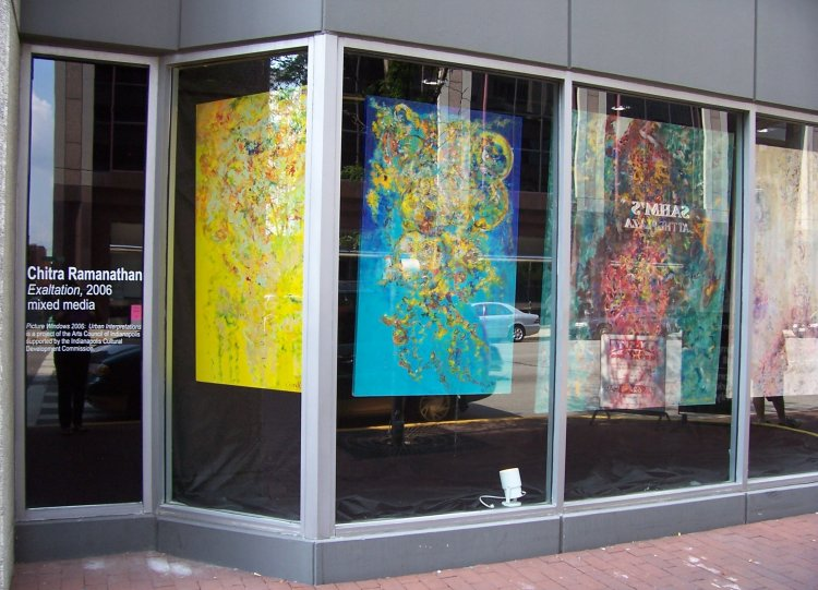 Site-specific installation of five large-scale paintings by Chitra Ramanathan featured at Monument Circle, downtown Indianapolis in 2006. This was an ongoing public art initiative by the Arts Council of Indianapolis aimed at promoting the city as a cultural destination.