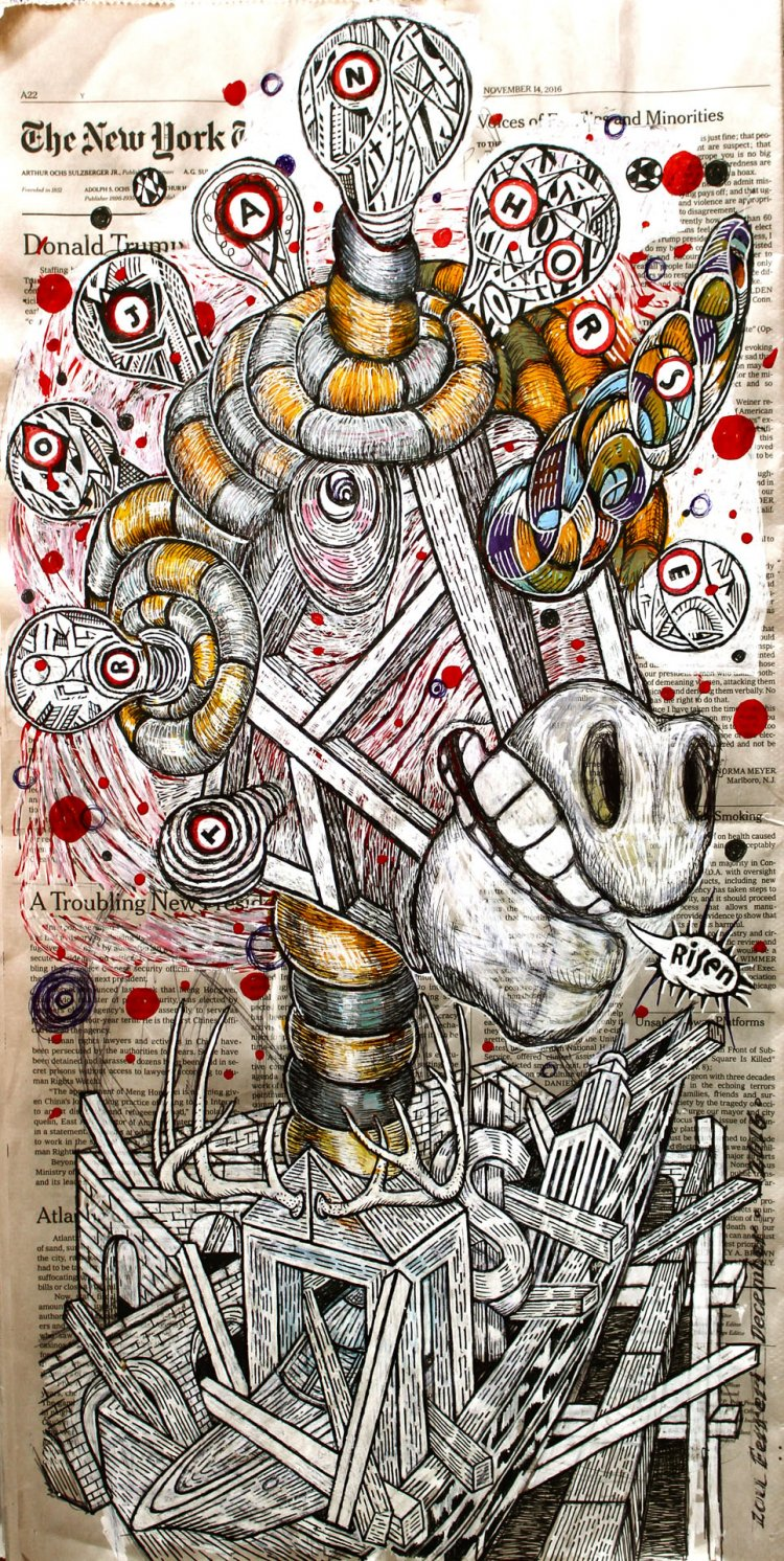 Trojan Horse Risen. Mixed media drawing tools. From the series, The Internal Affairs of Mr. Invincible.