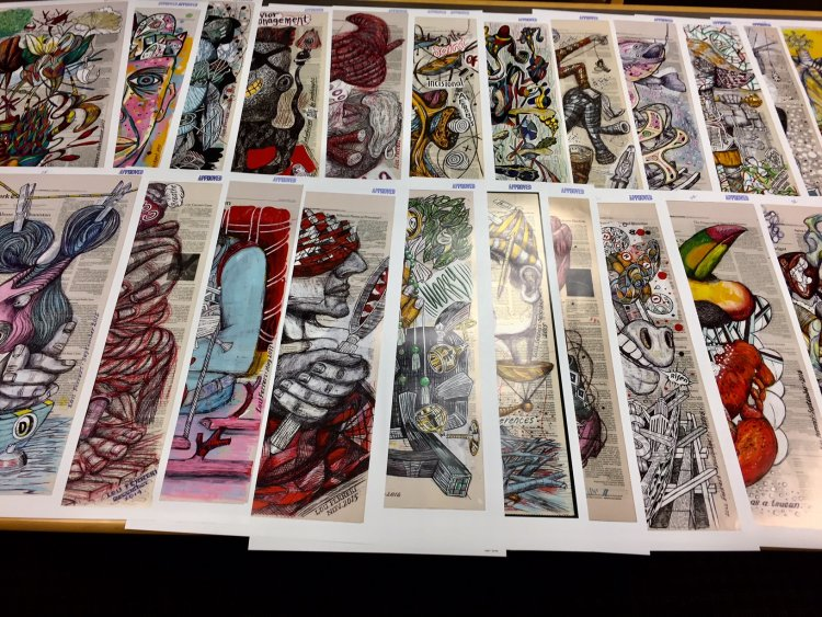 Checking prepress proofs. From the series, The Internal Affairs of Mr. Invincible.