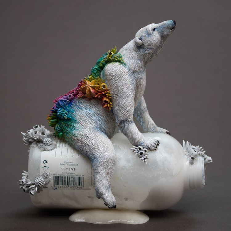 Hope (polar bear), 2019, Mixed Media Sculpture on Plastic Bottle (private collection)