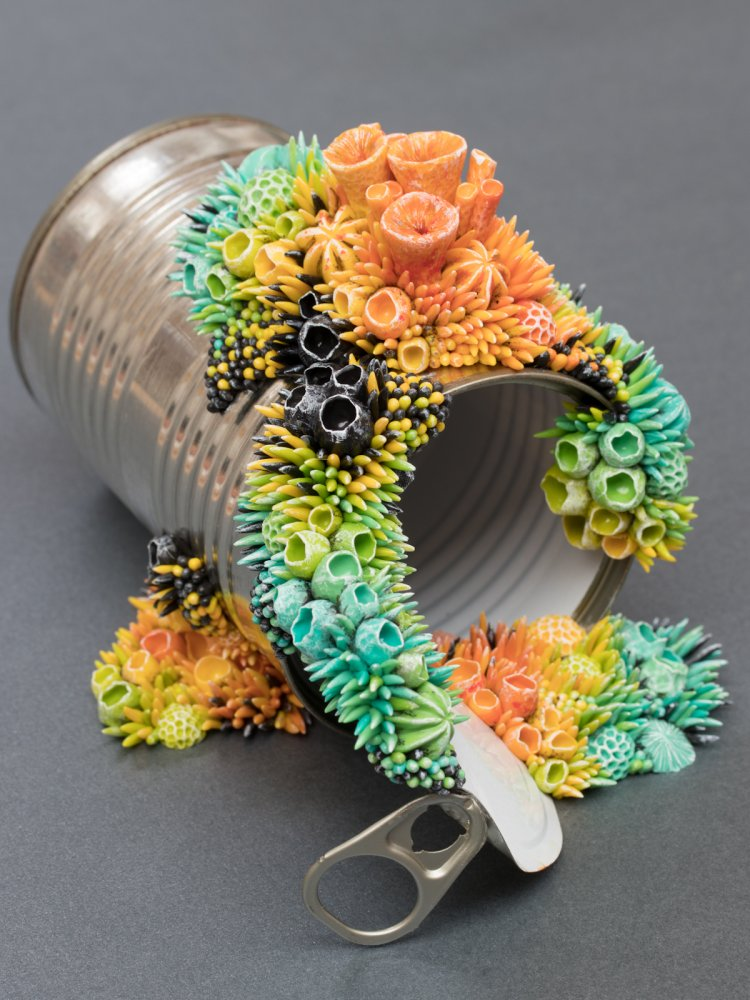 Tropical, 2018, Mixed Media Sculpture on Tin Can