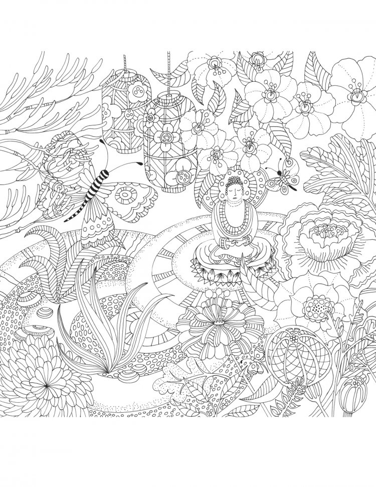 One of 31 drawings for Zen Garden Colouring Book, Peter Pauper press, USA