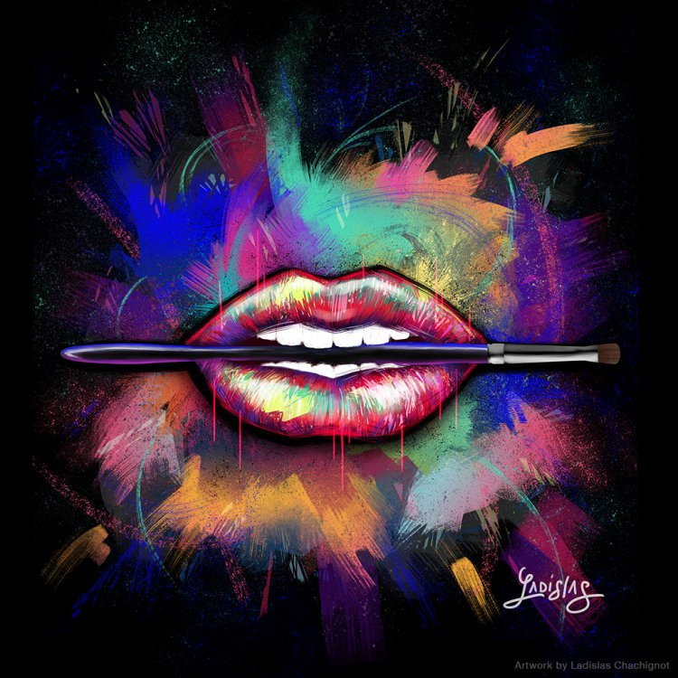 Graphic lips painting by Ladislas Chachignot. Digital painting for Make Up For Ever  - 2015