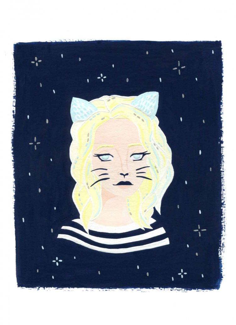 painted illustration of a cat woman with a starry night background