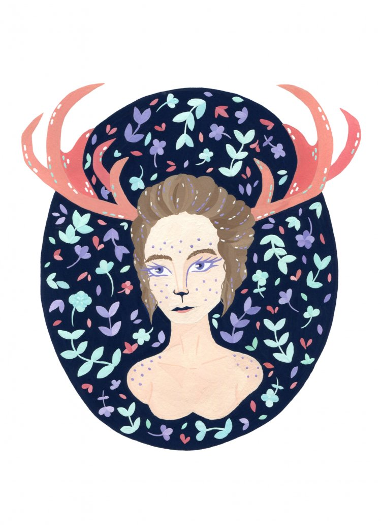 painted illustration of a deer woman with nature and leaves