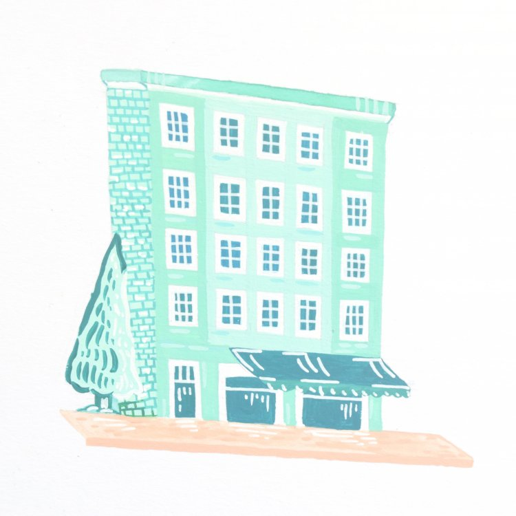 painted illustration of a mint nordic house
