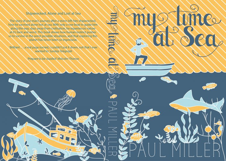 book cover layout with hand drawn type and illustrated sea life