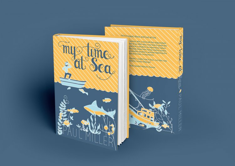 book cover with hand drawn type and illustrated sea life