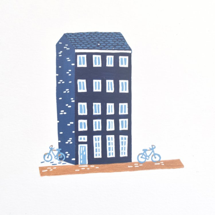 painted illustration of a navy nordic house
