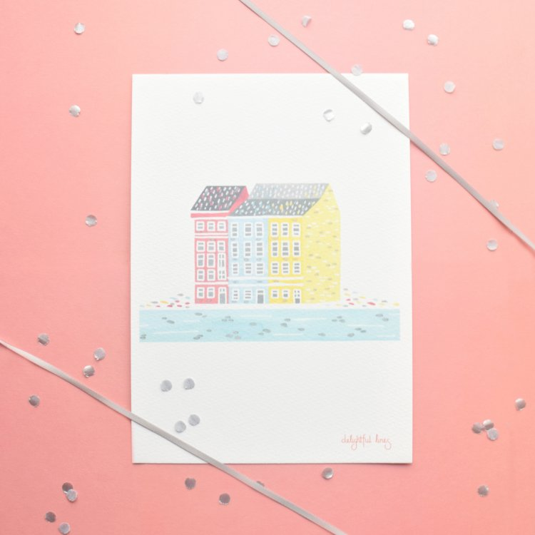 painted illustration of a pastel nordic house