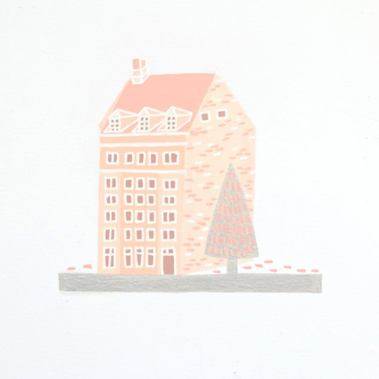 painted illustration of a peach nordic house