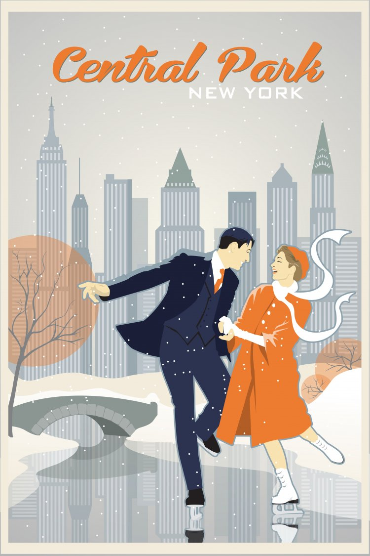 Vintage travel poster of Central Park New York