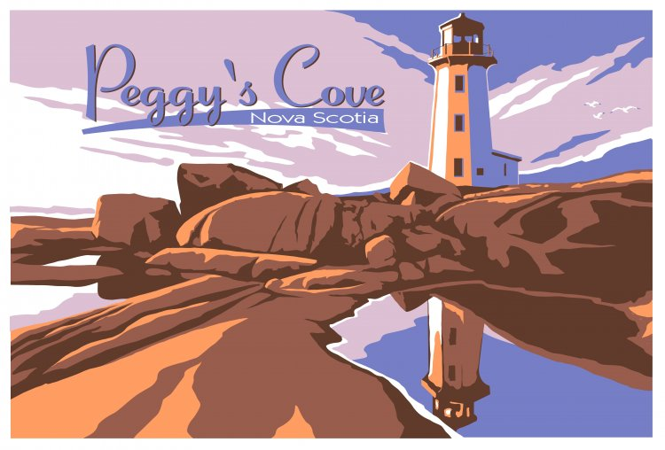 Vintage Travel poster of Peggy's Cove Canada.