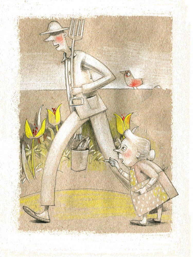 The Gardener sets off to work while his wife nags. Soft pencil illustration, beige and yellow.