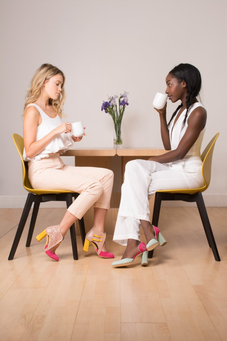 Lookbook Aksha Fernandez Shoes Models having a chat over coffee wearing designer shoes