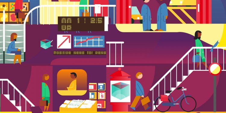 vibrant and colorful, graphic city illustration with people, architecture and street scenes