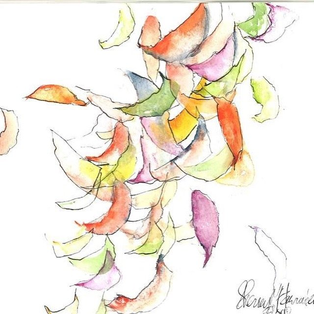 """FALLING INTO PLACE"". Watercolor Original Painting. Colorful Leaves falling into place."