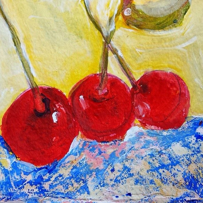 """""""Cherry Bliss"""", Original Watercolor Painting, 6 X 4 on Watercolor Paper."""