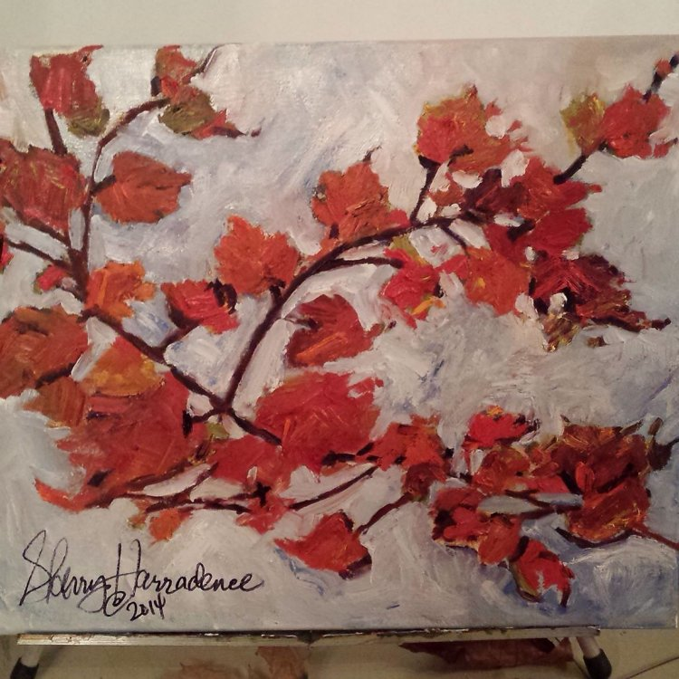 """""""Leaven Fall"""", Original Acrylic/Oil Painting on canvas.  18 X 24 size."""