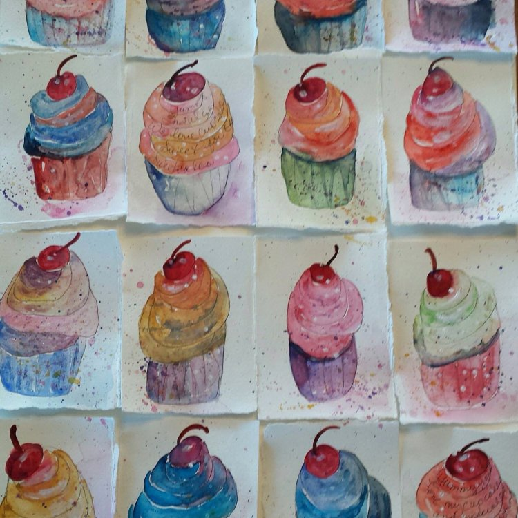 """Watercolor Original Painting, """"Crazy About Cupcakes"""".  28 X 30 on Watercolor Paper."""