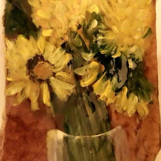 """Original Mixed Media Painting on Paper and enhanced in resin.  """"Sunflowers In Vase""""."""