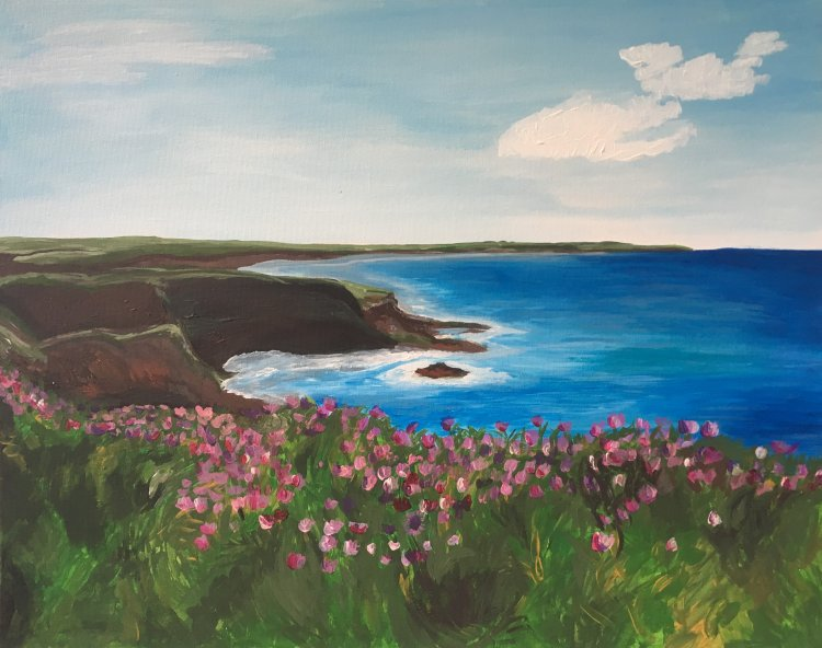 The Sea and Pink Flowers
