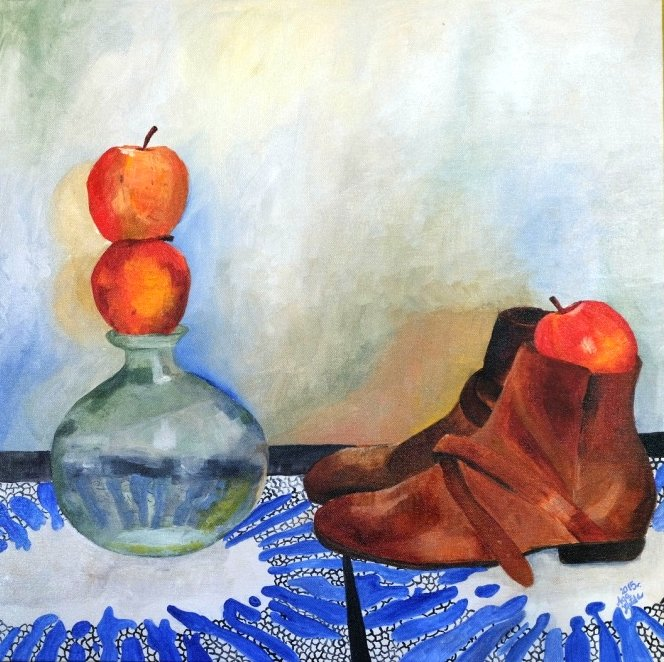 """Apples and shoes II"" 2015 Oil on canvas, 20 x 20 in."