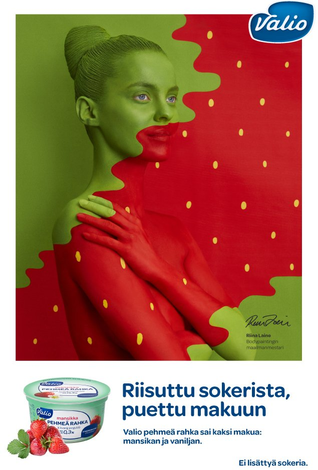 Body painting by Riina Laine for Valio advertising campaign