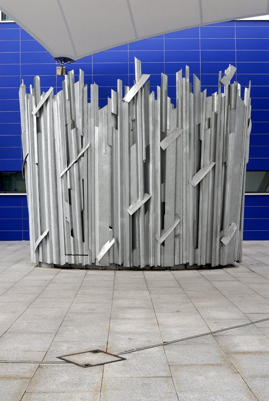 Tabard sq, London, vent surround in galvanised steel, 3.5m high