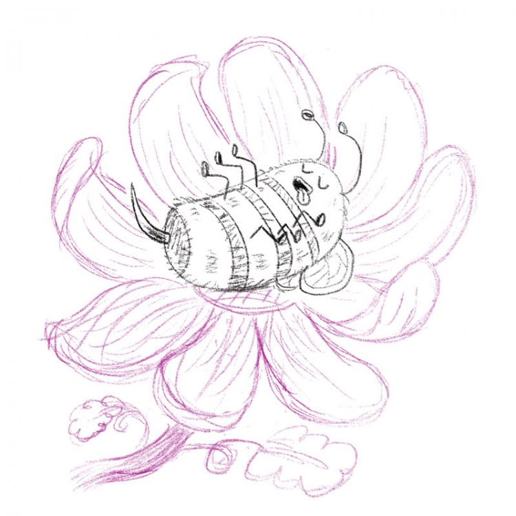 Blissful Bumblebee initial sketch by illustrator Scott DuBar
