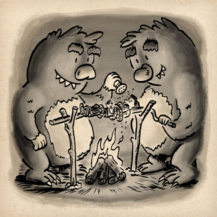 Two trolls roasting a person for their dinner