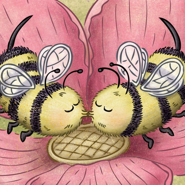 Two cute bees kissing inside a pink spring blossom. By illustrator Scott DuBar